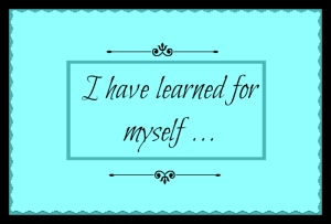 learned for myself